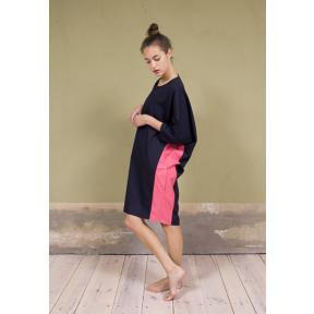 Colour Blocking Dress / Dark Blue/Magenta