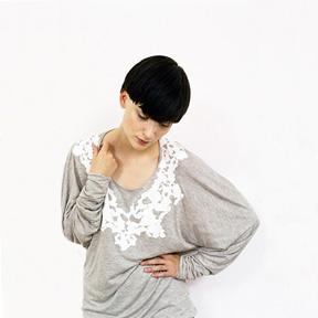 Printed Long Sleeve Top with Draped Back