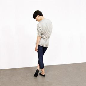 Short Sleeve Top with Draped Back